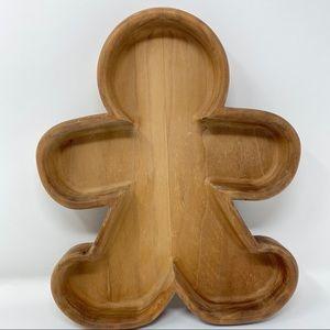 Wooden Gingerbread Man Dish